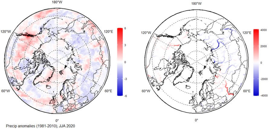two maps of the circumpolar North with blue and red hues