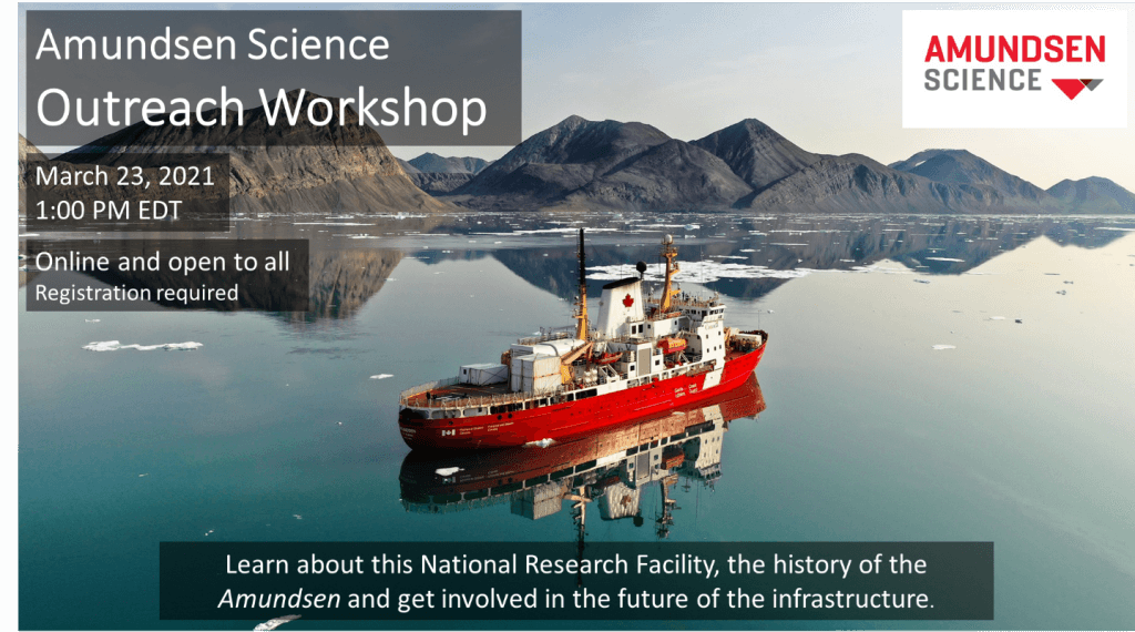 poster for the workshop featuring the a photo of the icebreaker in the ocean by a shoreline with mountains