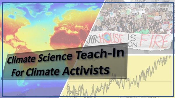 a poster with a cliamte map on on half, a climate change graph in on quarter, and climate activists protesting in another quarter