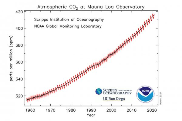 Graph with a red line of atmospheric co2